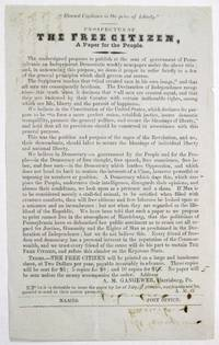 PROSPECTUS OF THE FREE CITIZEN, A PAPER FOR THE PEOPLE by  A[llen] M[atter] Gangewer - 1854 - from David M. Lesser, Fine Antiquarian Books LLC (SKU: 32153)