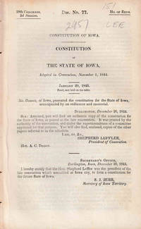 CONSTITUTION OF IOWA ADOPTED IN CONVENTION NOVEMBER 1, 1844