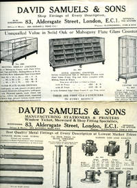 image of Shop Fittings   David Samuels & Sons, Manufacturing Stationers and Printers   35 Catalogues: Account Books; Display Stands; Serving Counters and Cases; Cash Tills; Millinery and Display Heads; Parcel Sealing Machines; Office Sundries; Window Tickets; Solid Oak and Mahogany Plate Glass Counters; Storage Shelving Equipment; Aldersgate Letter Files Office Sundries of Every Description and Much More (35 Catalogues and Price Lists)