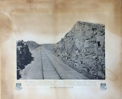 Large format photolithograph of a section of railway near Dale Creek, Wyoming. Measures 26