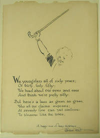 Original Pen and Ink drawing of a woman with her arm upraised, holding a cane. Inscribed with a poem, signed by Grant