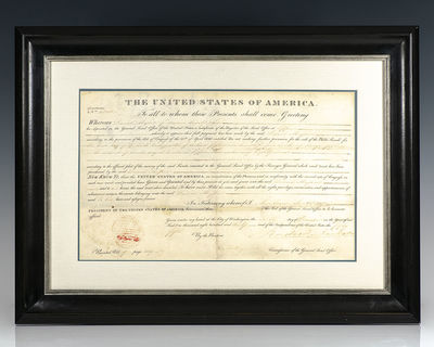 December 6, 1830. Rare Presidential Land Grant signed by Andrew Jackson as President. One page, date...