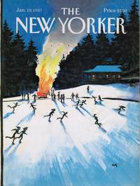 image of NEW YORKER: COVER SKATING at the  BONFIRE by ARTHUR GETZ