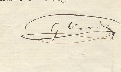 1860. Giuseppe Verdi Being to his publisher Leon Escudier, and relating to another publisher, Giulio...