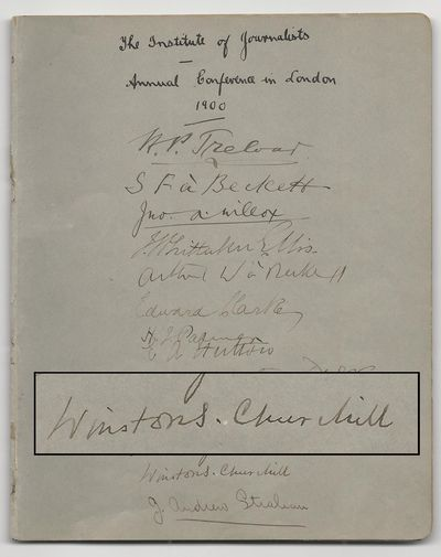London, September 1900. Booklet. This early and noteworthy Churchill signature dates from September ...