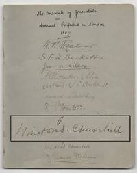Autograph booklet from the September 1900 Institute of Journalists annual conference in London, signed by a young Winston Churchill and 28 other of his fellow journalists