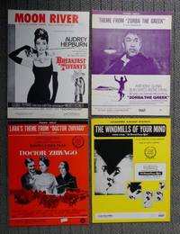 """image of MOON RIVER / THEME FROM """"ZORBA THE GREEK"""" / LARA'S THEME FROM """"DOCTOR ZHIVAGO"""" / THE WINDMILLS OF YOUR MIND: THEME FROM """"THE THOMAS CROWNE AFFAIR"""".  SHEET MUSIC FROM 1960s MOVIES.  4 ITEMS."""