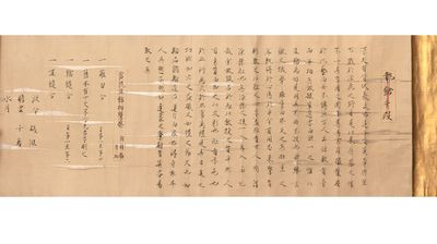 Scroll (365 x 5560 mm.), with gold endpaper at beginning, on a wooden roller. : at end, in trans.: