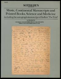Sotheby's London Music, Continental Manusripts ad Printed Books, Science and Medicine