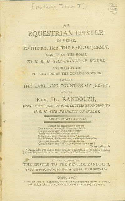 London: Printed for J. Parsons, 1796. vii,,-32pp. Octavo. Extracted from bound pamphlet volume. Half...