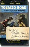 image of Tobacco Road: A Three Act Play (First Edition in paperback, inscribed by Erskine Caldwell to his publisher)