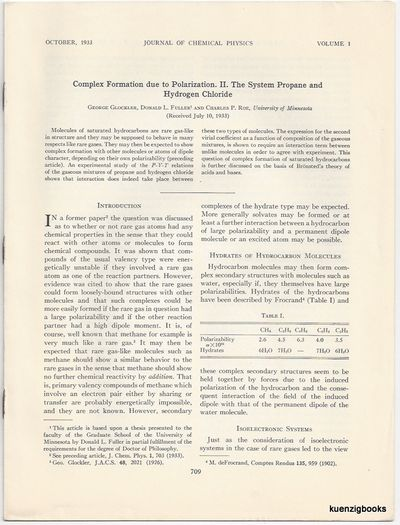Journal of Chemical Physics, 1933. First Edition. Wraps. Near Fine. First Edition. 703-708 pages PLU...