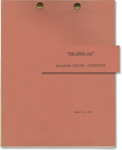 Los Angeles: Selznick International, 1950. Post-production Dialogue Cutting Continuity script for th...