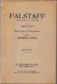 image of Vintage 1909 Issue of Falstaff a Lyrical Comedy in Three Acts