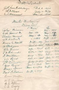 Handwritten List of Railroad Master Mechanics and Superintendents for Delaware and Hudson RR, 1871-1950s