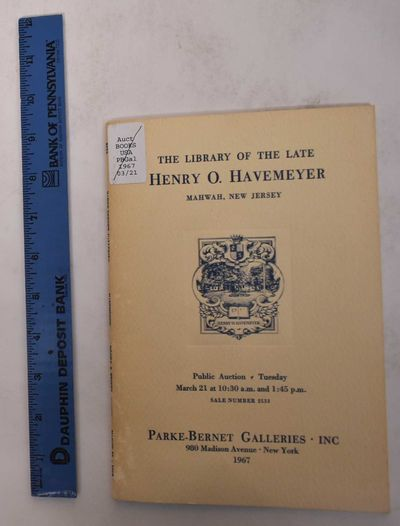 New York: Parke-Bernet Galleries, Inc, 1967. Softcover. VG-. Ex-library with usual marks. Some disco...