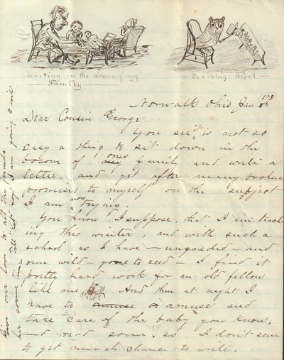 Very Good. 1871. An amusing letter with great drawings by the author, Luther Baker Mesnard written t...