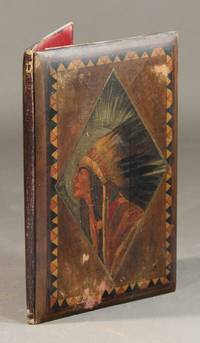 An empty binding consisting of painted wooden sides depicting within a parallelogram a Native American in full headdress
