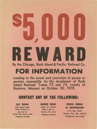 image of Archive of 32 photographs and a reward poster for a train accident in Raytown, Missouri, 1970