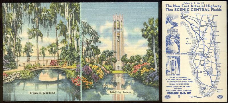 POSTCARD - Cypress Gardens and Us 27 Highway, Florida