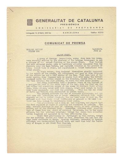 Barcelona: Generalitat de Catalunya, . English Edition,