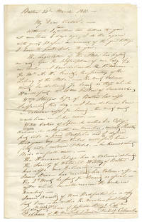 [AUTOGRAPH LETTER SIGNED, FROM JOHN JAMES AUDUBON TO HIS SON, VICTOR GIFFORD AUDUBON, SENT CARE OF ROBERT HAVELL, DISCUSSING NEW SUBSCRIPTIONS FOR The Birds of America]