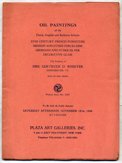 New York: Plaza Art Galleries, 1944. Softcover. Very Good. First edition. Very good in wrappers. Auc...