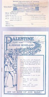 PALESTINE FOR A JEWISH HOMELAND LET US RISE UP AND BUILD