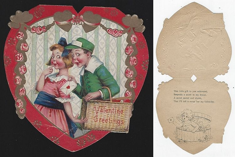 VINTAGE HEART SHAPED VALENTINE CARD WITH BOY AND GIRL, Valentine