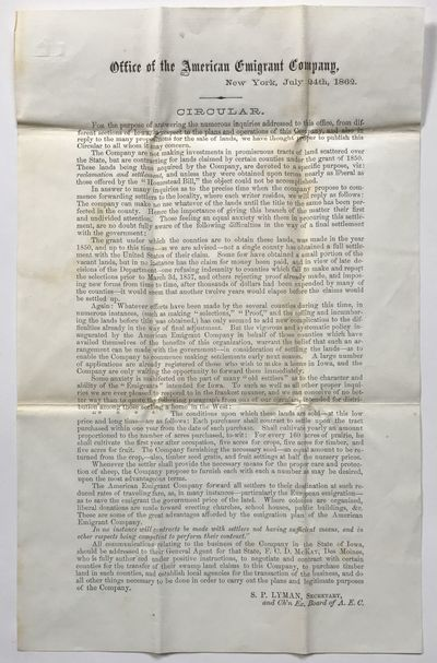 New York, 1862. Very good.. Broadside, 12.5 x 8 inches. Previously folded. Light wear and scattered ...