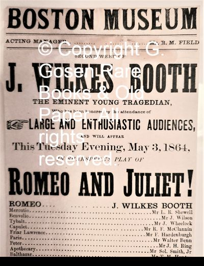 BOSTON MUSEUM SECOND WEEK OF J. WILKES BOOTH THE EMINENT YOUNG TRAGEDIAN, Who has been honored by t...