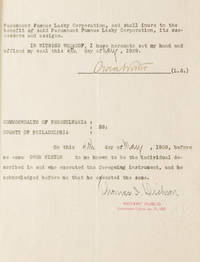 Document, signed (Owen Wister), being an agreement between Paramount and Wister