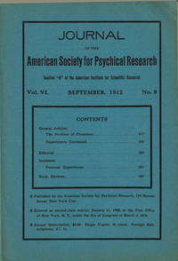 image of JOURNAL OF THE AMERICAN SOCIETY FOR PSYCHICAL RESEARCH. Volume VI. No. 9. September, 1912.