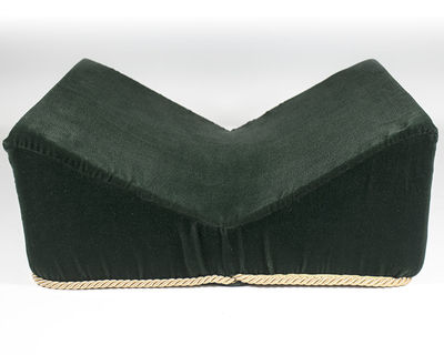 Green plush velvet book display cradle lined with woven gold rope. The cradle measures 16 inches in ...