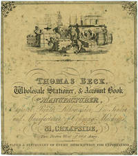 """Account Book Label Advertising for Thomas Beck, Wholesale Stationer, & Account Book Manufacturer, with vignette of dock workers and boxes marked """"Gold"""" and """"Wool"""" by [Australia; Gold & Mining; Wool] - 1855 - from Antipodean Books, Maps & Prints (SKU: 19819)"""