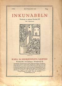 Catalogue 540/1924 = Nachtrag zu Cat. 535. Incunabula.