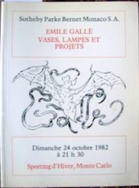 Emile Gallé, Vases, Lampes et Projets. Dimanche 24 octobre 1982.