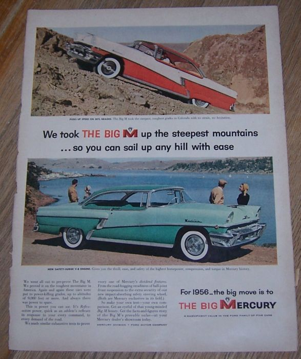 1956 THE BIG M MERCURY AUTOMOBILE LIFE MAGAZINE ADVERTISMENT, Advertisement