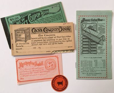 Topeka: J.M. Padgett Coupon Co, 1899. Very good.. Two coupon booklets, one advertising brochure, plu...