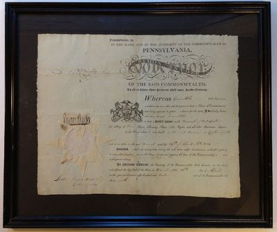Commonwealth of Pennsylvania, 1813. unbound. 1 page, 12.75 x 16 inches, Commonwealth of Pennsylvania...