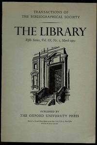 image of The Library 5th Series Vol IX No. 1 March 1954: Transactions of the Bibliographical Society