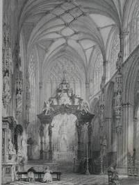 Belgium: Chapel of St Gudule, Brussels. by Original Steel Engraving - 1847 - from N. G. Lawrie Books. (SKU: 30931)