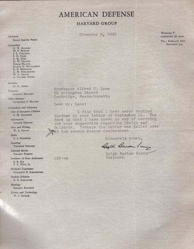Cambridge, 1943. Letter. Very good. The American Defense, Harvard Group was organized by a small gro...