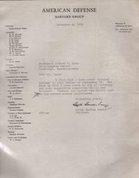 TLS from Chairman of the American Defense Harvard Group to Professor Alfred Lane regarding Stalin, Bulgaria