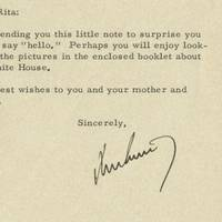 """President John F. Kennedy's Letter to an Admiring 5-Year-Old Girl She had saved 2 cents to visit the President, and he brightened up her day: """"I am sending you this little note to surprise you and to say 'hello'…""""."""