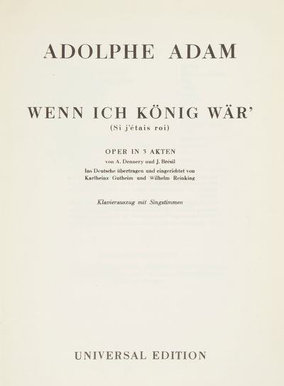 : Universal Edition , 1954. Folio. Original publisher's light ivory wrappers with titling in sepia. ...