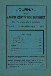 image of JOURNAL OF THE AMERICAN SOCIETY FOR PSYCHICAL RESEARCH. Volume VII. No. 11. November, 1913.
