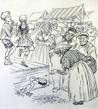 Pen and ink illustration of a duck holding a hat as an old woman tosses coins into it while children perform on stage by  Fritz Eichenberg - from James Cummins Bookseller and Biblio.com