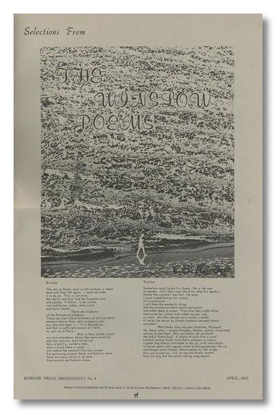 Denver: The Bowery Press, 1969. Folio broadside (43 x 28 cm). Printed recto and verso. Photographs. ...