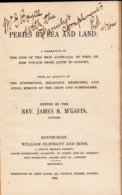 Sydney: John Sands, 1904. xx. 12mo. 81, (1) pp. This is the Australian reprint of a shipwreck accoun...